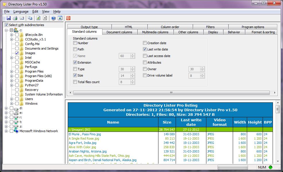 Directory Lister Pro full screenshot